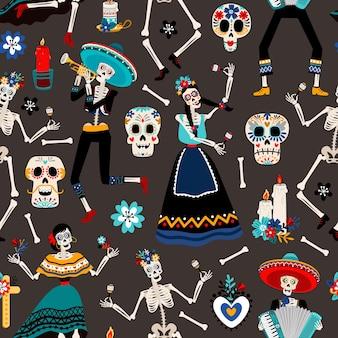 Dia de los muertos, meksykański dzień zmarłych wzór z ilustracjami czaszek, szkieletów i kwiatów