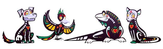 Dia de los muertos, meksykański dzień zmarłych ze szkieletami zwierząt. kreskówka zestaw czarnego kota, psa, papugi i jaszczurki z kolorowym wzorem kości, czaszek, serca i kwiatów