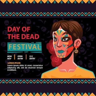 Dia de los muertos piękna kobieta na okładkę