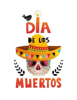 Dia de los muertos projekt plakatu z czaszką na meksykańskie wakacje.