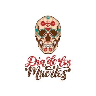 Dia de los muertos przetłumaczone odręcznie z hiszpańskiego dnia zmarłych. ilustracja wektorowa czaszki w stylu grawerowanym na białym tle. koncepcja projektu na zaproszenie na przyjęcie, kartkę z życzeniami.