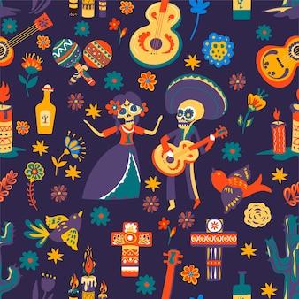 Dia de los muertos, tradycyjne symbole meksykańskiego święta. obchody dnia zmarłych, wzór z kwiatami i krzyżami, szkieletami i gitarami akustycznymi. marakasy i tequila, wektor