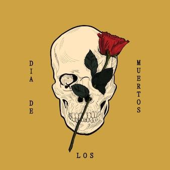 Dia de los muertos, z czaszką i różą w stylu grawerowanym