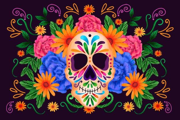 Dia de muertos czaszka z widokiem z przodu z kwiatami w tle