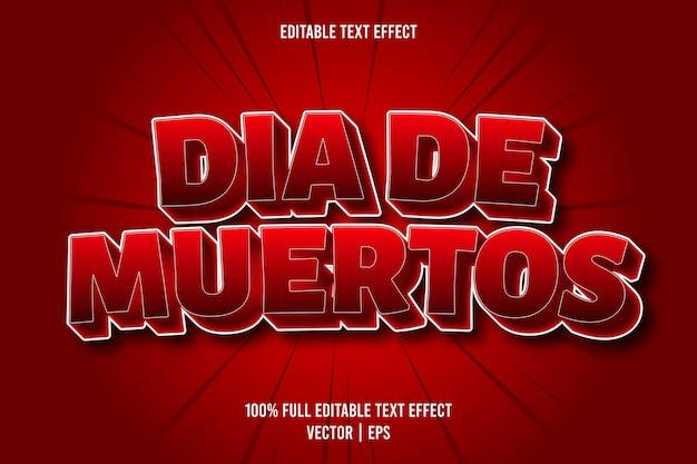 Dia de muertos edytowalny efekt tekstowy w stylu komiksowym