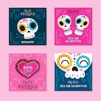 Dia de muertos instagram post pack