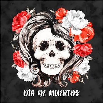 Dia de muertos kwiatowy czaszki tło