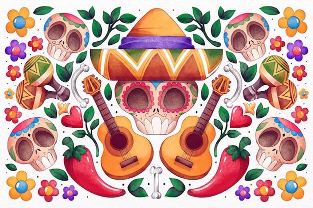 Día de muertos ręcznie rysowane tła