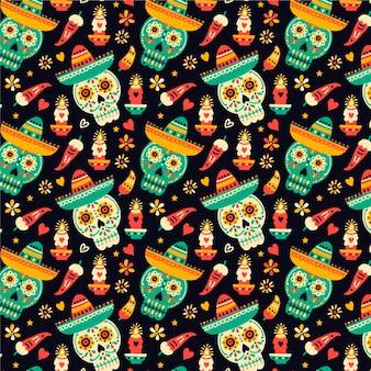 Dia de muertos ręcznie rysowane wzór czaszki