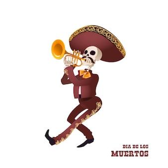 Dia de muertos. szkielet muzyka mariachi. meksykańska tradycja