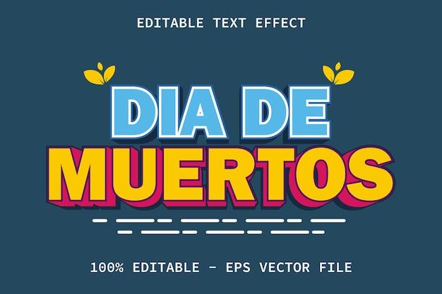 Dia de muertos z edytowalnym efektem tekstowym w nowoczesnym stylu