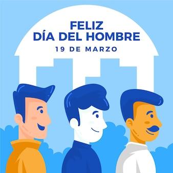 Dia del hombre ilustracja w płaskiej konstrukcji