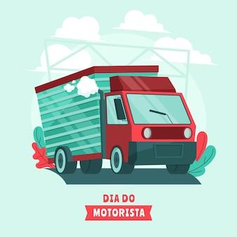 Dia do motorista ilustracja z ciężarówką