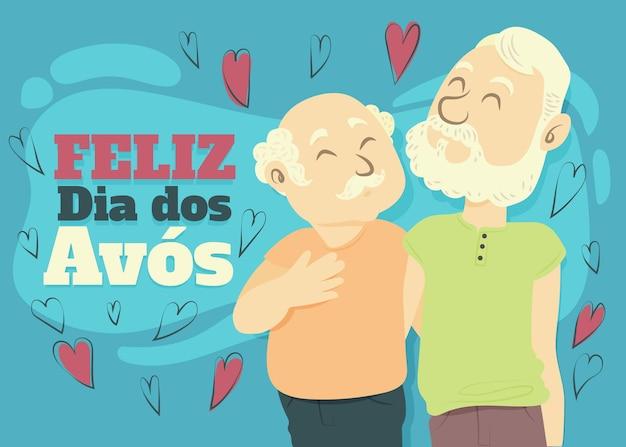 Dia dos avos ilustracja z dziadkami