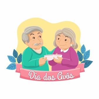 Dia dos avos płaski ilustracja dziadków. dziadek i babcia piją kawę razem