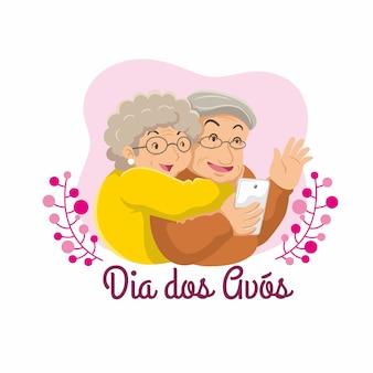 Dia dos avos płaski ilustracja dziadków. robić wefie
