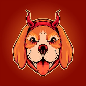 Diabeł beagle pies ilustracja wektor premium, idealny na koszulkę