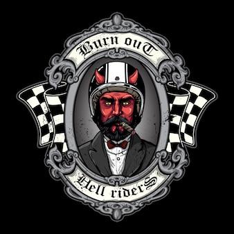 Diabeł biker w stylu t-shirt, tekstura jest łatwa do usunięcia