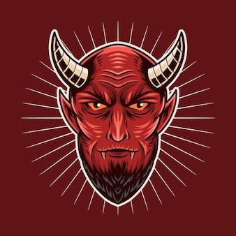 Diabeł głowa czerwony ilustracji wektorowych