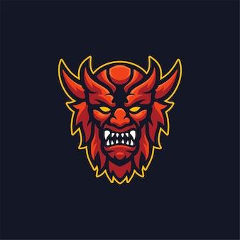 Diabeł głowy kreskówka logo szablon ilustracja esport logo gry wektor premium