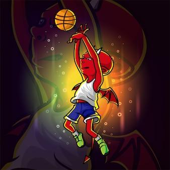 Diabeł gra na ilustracji maskotki e-sportowej koszykówki