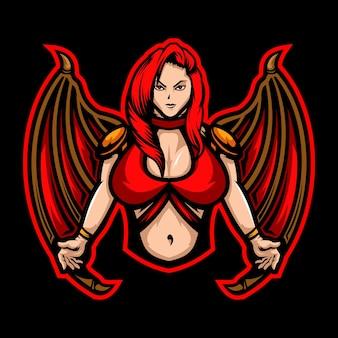 Diabeł kobieta esport logo ilustracja
