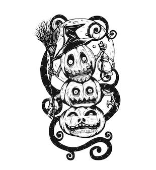 Diabeł tatuaż dyni na białym tle