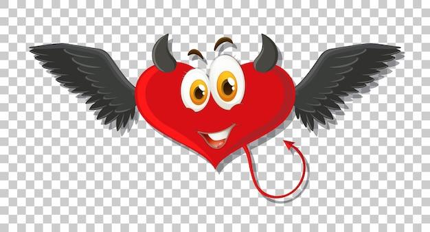 Diabeł w kształcie serca z wyrazem twarzy