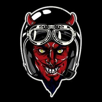 Diabeł z czarnym tle kasku