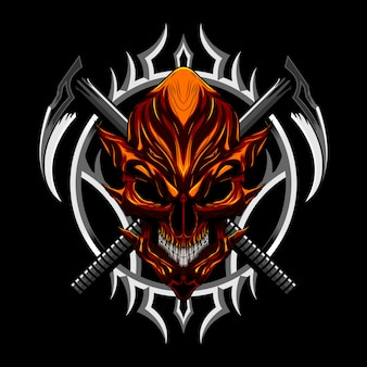 Diabeł zła czaszka i broń