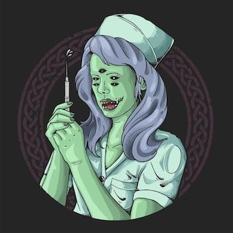 Diabelska pielęgniarka daje ilustrację szczepionki pandemicznej