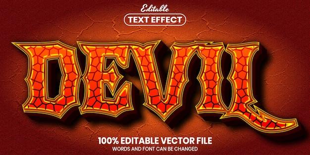 Diabelski tekst, edytowalny efekt tekstowy w stylu czcionki
