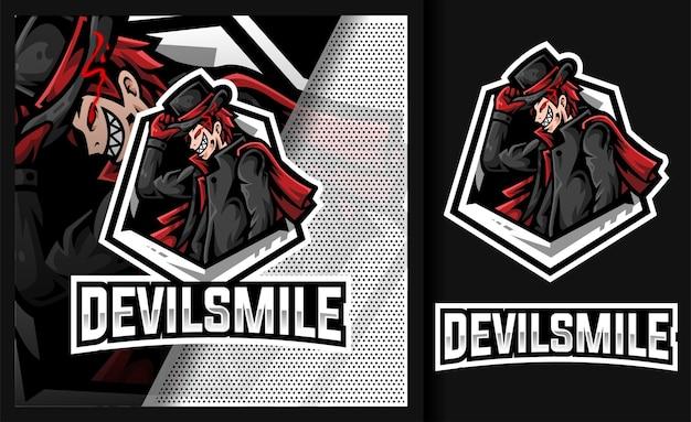 Diabelski uśmiech smokingu złodziej maskotka logo