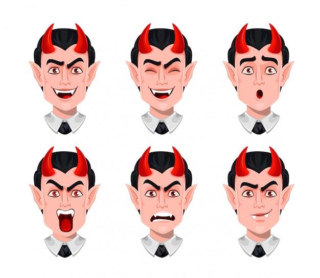 Diabelskie emocje. różne wyrazy twarzy