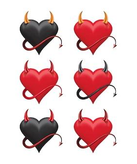 Diabelskie serca z ostrymi rogami i ogonem.