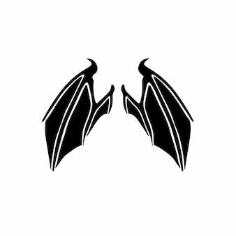 Diabelskie skrzydła logo tatuaż szablon projektu ilustracja wektorowa