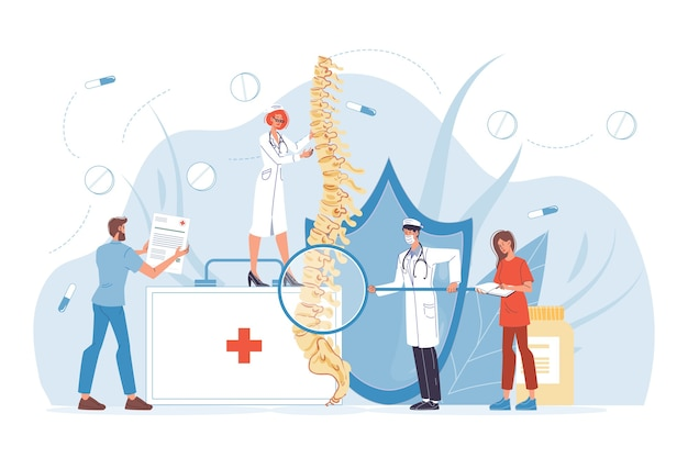 Diagnostyka chorób kręgosłupa. bóle pleców, reumatyzm, deformacje, leczenie stanów zapalnych kręgów. chirurg szkieletowy. zespół pielęgniarki lekarza kręgowca w mundurze bada ludzkie kręgi