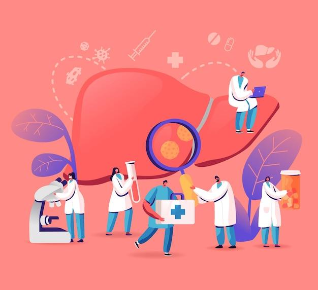 Diagnoza lekarska, wirusowe zapalenie wątroby typu a, b, c, d światowy dzień, koncepcja marskości wątroby, ilustracja kreskówka płaski
