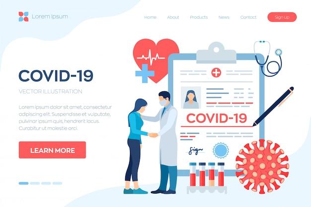 Diagnoza medyczna - koronawirus 2019-ncov. medyczna koncepcja covid-19. lekarz dba o pacjenta. objawy koronawirusa.
