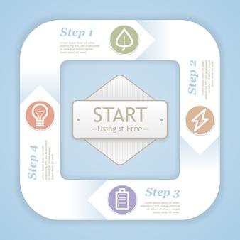 Diagram cyklu życia. plansza szablon projektu eco nowoczesny miękki kolor