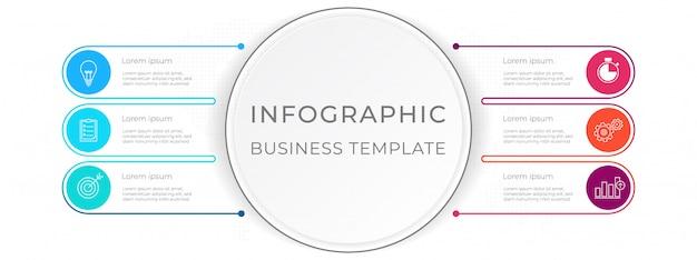 Diagram infographic szablon 6 opcji.