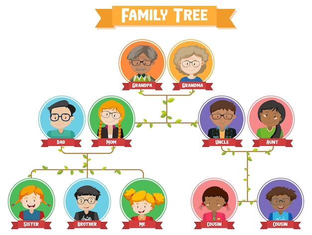 Diagram przedstawiający drzewo genealogiczne trzech pokoleń