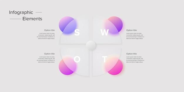 Diagram venna w szablonie infographic glassmorphic koło nakładające się okrągłe kształty dla logicznej ilustracji graficznej