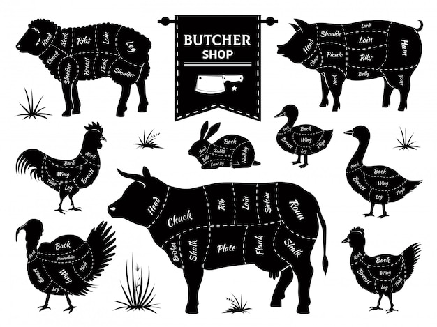 Diagramy rzeźnika. kawałki mięsa zwierząt, krowa, świnia, królik, jagnię, kogut, zwierzęta domowe, sylwetki. zestaw logo sklepu mięsnego retro