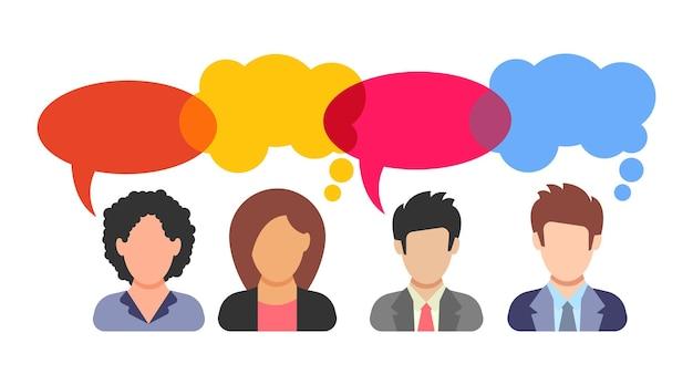 Dialog. rozmawiają cztery kobiety i mężczyźni. dyskusja między mężczyznami i kobietami w garniturach. ikona osób w stylu płaski. ilustracja wektorowa