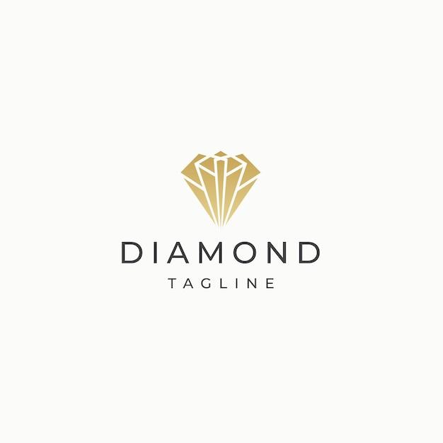 Diament kamień elegancki luksusowy złoty logo ikona szablon płaski wektor