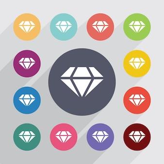Diament, płaski zestaw ikon. okrągłe kolorowe guziki. wektor