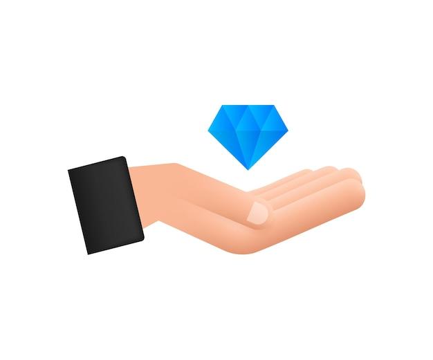 Diament z ikoną dłoni diament z ikoną dłoni w modnym stylu płaski