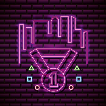 Diament z numerem jeden na ścianie z cegły, w stylu neonowym