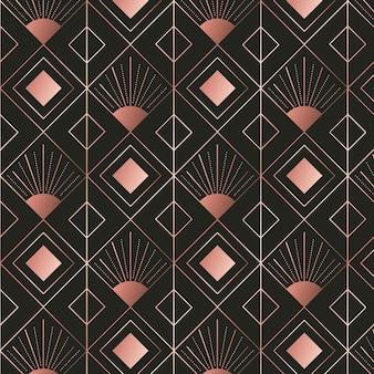 Diamentowe kształty wzór art deco z różowego złota